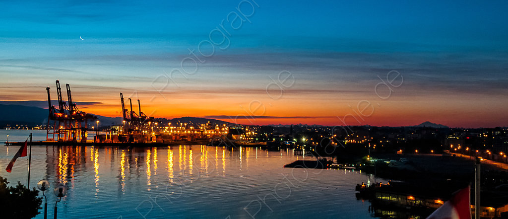 Vancouver Harbour with Mt. Rainier and North Cascades, Canada
