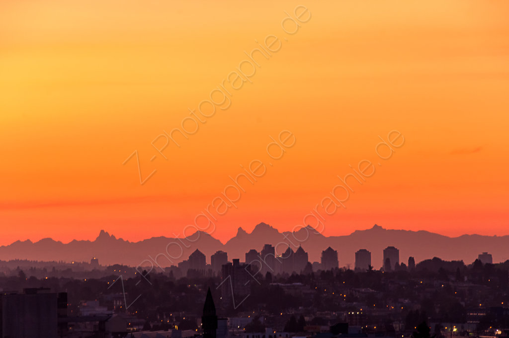 North Cascades seen from Vancouver, B.C., Canada